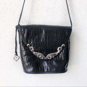 Brighton | Vintage Black Leather Crossbody Bag